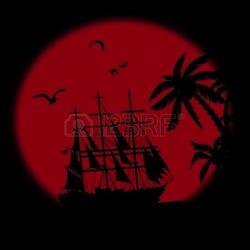 21737258-barca-che-galleggia-sul-mare-di-fronte-a-un-grande-rosso-di-luna-piena-di-notte