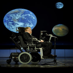 """Dr. Stephen Hawking, a professor of mathematics at the University of Cambridge, delivers a speech entitled """"Why we should go into space"""" during a lecture that is part of a series honoring NASA's 50th Anniversary, Monday, April 21, 2008, at George Washington University's Morton Auditorium in Washington. Photo Credit: (NASA/Paul. E. Alers)"""