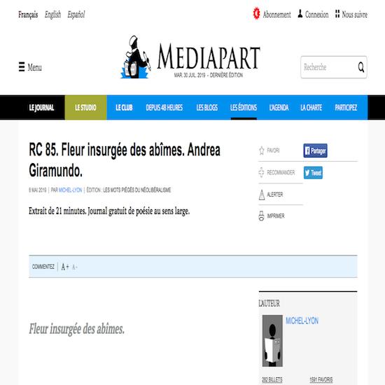 MEDIAPART ANDREA GIRAMUNDO POESIE